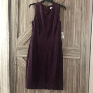 Calvin Klein Faux Suede Midi Body Con Dress. NWT.